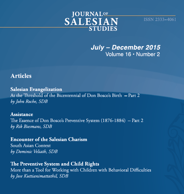 Journal of Salesian Studies 16.2 - Back Cover